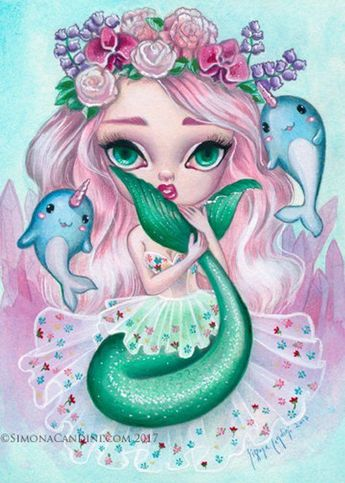Cecily SIGNED print Simona Candini mermaid narwhal, illustration, siren, cute, girly, pop, art, watercolor unicorn fish