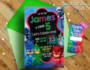 PJ Masks Invitation Pj Birthday Invitations