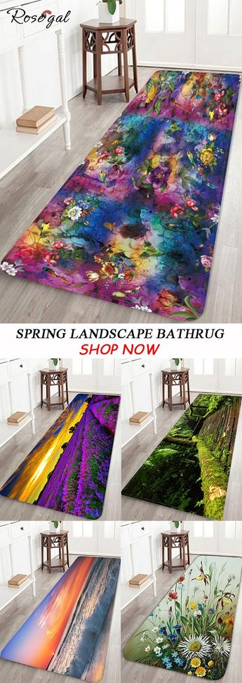 Spring Landscape Bathrug for New House Decoration #Rosegal #bathroom #spring #rugs