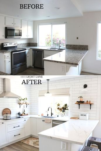 White Semihandmade Kitchen Renovation: Before + After