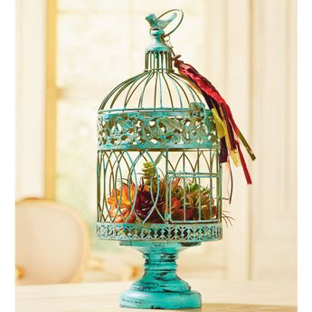 DIY Turquoise Bird Cage - customize a birdcage with paint and bring a little natural beauty to your home by filling  with moss and succulents