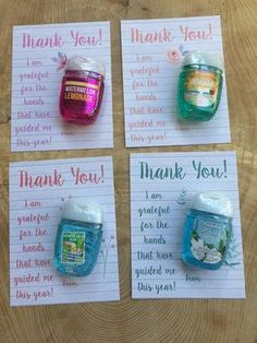 Teacher, bus driver, coach, end of year gift, appreciation, thank you cards for hand sanitizer, prin