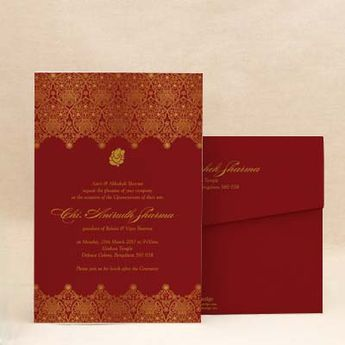 Golden Paisley: Red Thread Ceremony Invitation Cards , E-Card Designs Buy Golden Paisley