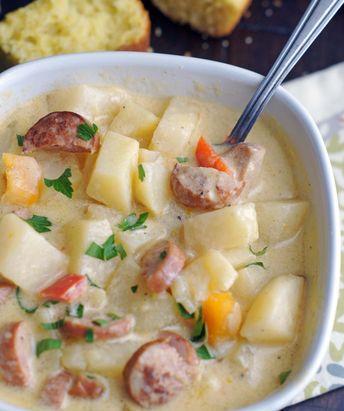 Slow Cooker Cheesy Sausage & Potato Soup