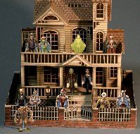 Paper craft haunted house and mini monsters offered as free printables... creepy coolness!