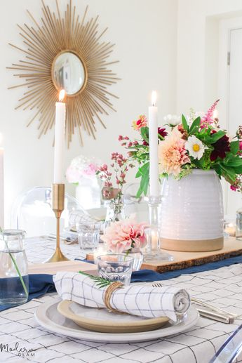 This rustic summer centerpiece with dahlias is the perfect focal point to celebrate summer! See how easy it is to create this simple floral arrangement.