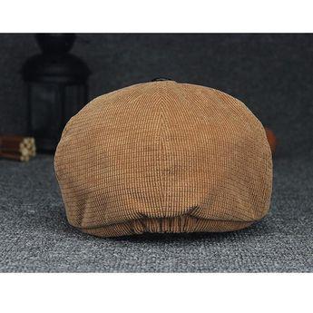 80167120 Men Women Pure Color Windproof Warm Beret Caps Comfortable Corduroy Duck Hats  Casual Forward Caps