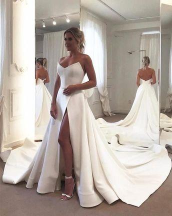 Wedding Dress Under $200,Satin Wedding Gown,Simple Bridal Dress – alinanova