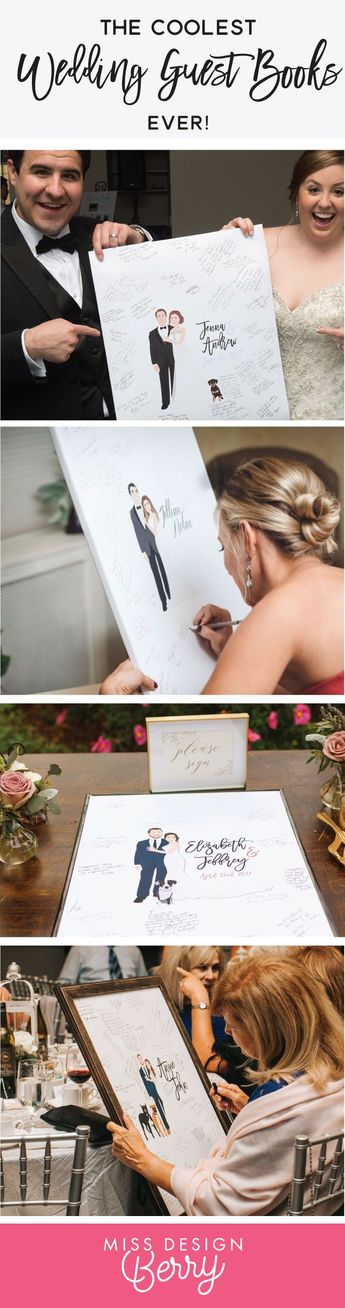 Wedding Guest Book Alternative with Couple Portrait - The Penny