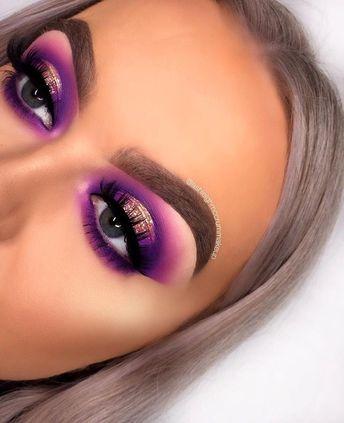 Purple 'cralo' makeup eye look. Cut crease and halo eye with groomed eyebrow... #eye #eyemakeup #makeup #augenmakeup