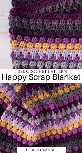 Happy Lark Crochet Scrap Blanket - Crochet 365 Knit Too