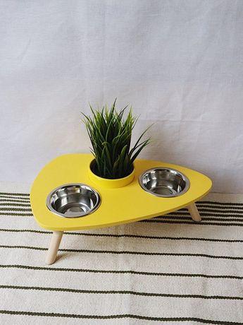 Cat furniture, Wooden Feeding Stand with Fresh Green Grass, Pet Feeder