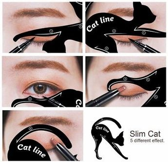 Details about 2 pcs Cat Eyeliner Stencil Matte PVC Material Repeatable Use Smokey Eye Stencil