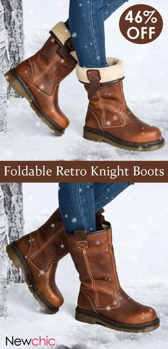 Foldable Retro Round Toe Stitching Mid Calf Knight Boots