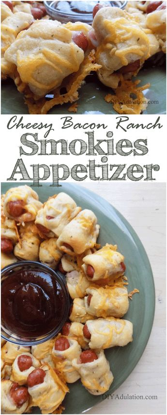 Are you looking for an easy appetizer to serve at your next party? These cheesy bacon ranch smokies are a seriously easy and delicious way to feed a crowd! #BestAppetizersRecipes