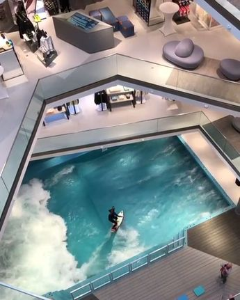 L&T Mall in Osnabruck, Germany. @citywave.de Who wants to try this? Keyword: indoor surfing idea, shopping mall, wave pool, citywave.