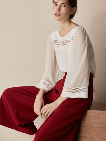 7e15ef088df Fall Winter 2017 Women´s BLOUSE WITH DIE-CUT DETAILS at Massimo Dutti for