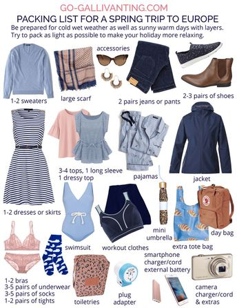 Packing List for Europe in Spring plus Printable Checklist