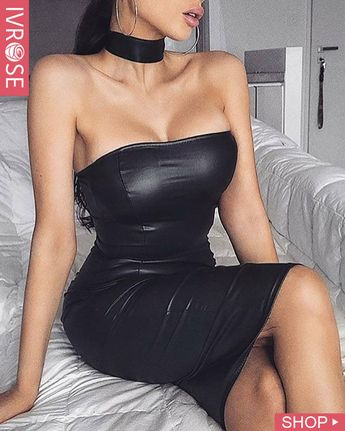 Solid Tube Coated PU Bodycon Dress