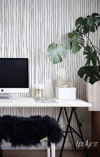 Blurred Lines Wallpaper - Black and White Pattern - Removable Wallpaper - Self Adhesive - Peel and Stick - Modern decal - Black Lines - 29