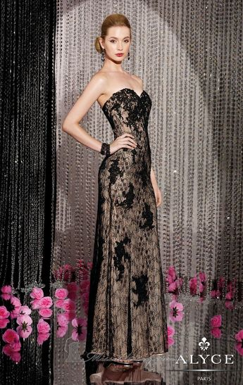 480266e551fc6 Strapless Lace Gown by Alyce Black Label