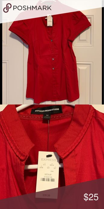 Express Red Blouse (new with tags) fitted, short sleeve red button down blouse from Express Express Tops Blouses