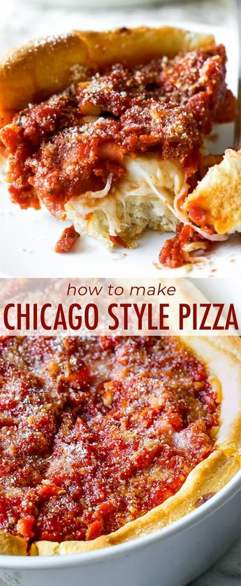 Here's how to make authentic-tasting Chicago deep dish pizza. Complete with the buttery crust, slightly sweet tomato sauce, and a thick layer of cheese. Recipe on sallysbakingaddiction.com