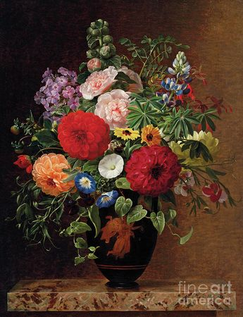 Lilac, Apple Blossom, Cornflowers And Sweet Williams With A Pot Of Violas On A Ledge Painting by Johan Laurents Jensen