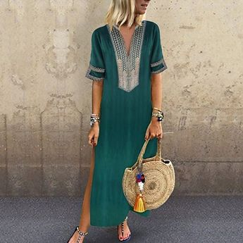 [$21.99] Women's Plus Size Vacation Basic Boho Maxi Loose Tunic Dress - Solid Colored Dusty Rose, Print Deep V Summer Cotton Black Blushing Pink Purple XXXL XXXXL XXXXXL