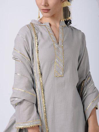 Grey Gota Cotton Kurta with Sharara and Dupatta (Set of 3)