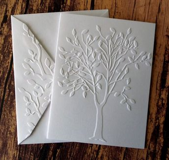 Tree Cards, Set of 5, White Embossed Tree Cards, Autumn, Fall Greeting Cards, Nature Stationery Set, Blank Note Cards, Fall Tree Card Set
