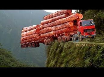 Extreme Heavy Equipment Driving Skill Oversize Truck Hauling Logs On The Most Dangerous Road - YouTube