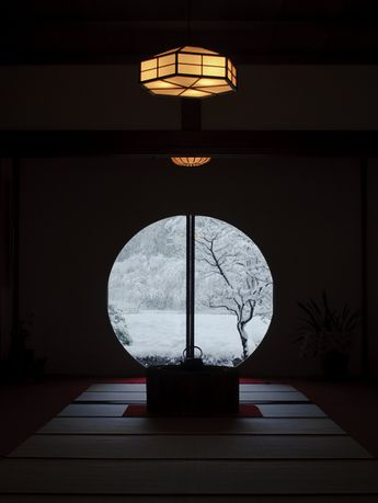 The snowy view from the window of Meigetsu-in temple, Kamakura, Japan★
