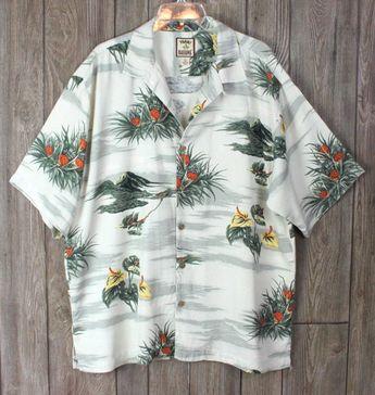 013274d5 Tommy Bahama L size Hawaiian Shirt Silk Pineapples Islands Floral Vacation  Aloha