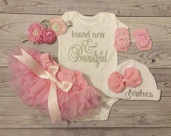 d8e417f6d Luna Mint Coral And Gold Hello World Newborn Outfit Hello W