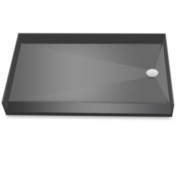 Tile Redi Barrier Free Polyurethane Rectangular Shower Base Entry, Black