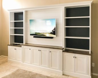 White Entertainment Center with Shiplap Upper and Painted Shelf Backing