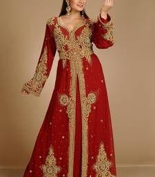 3fe887c7b9 Maroon zari work stones   beads embellish georgette islamic style arabian  maxi partywear kaftan