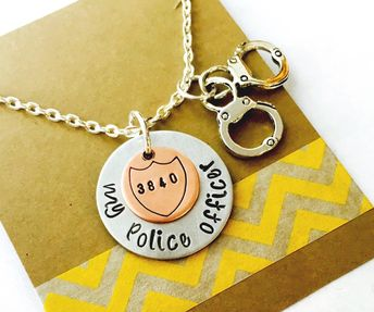 Police Officer Necklace, Hand Stamped Police Necklace, Badge Number Police Officer Necklce I Love My Police Officer