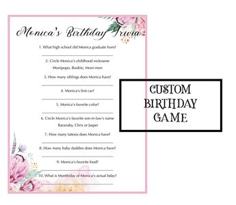 Birthday Trivia Game Birthday Party Trivia Instant Dow