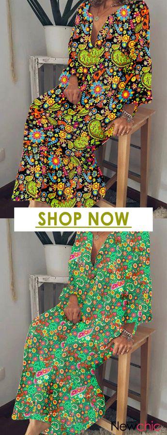 Bohemian Print Floral V Neck 3/4 Sleeve Maxi Dress..