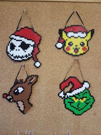 jack  pikachu  rudolph grinch #kids'crafts #kids' #crafts #beads