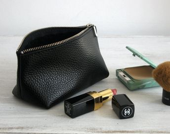 SMALL LEATHER POUCH - Small Black Leather Clutch - Leather Toiletry Bag - Small Leather Bag - Leather Makeup Bag - Leather Cosmetic Bag