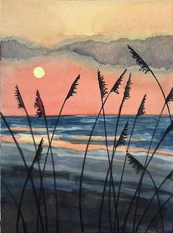 New Painting Watercolor Sunset Landscapes 34+ Ideas