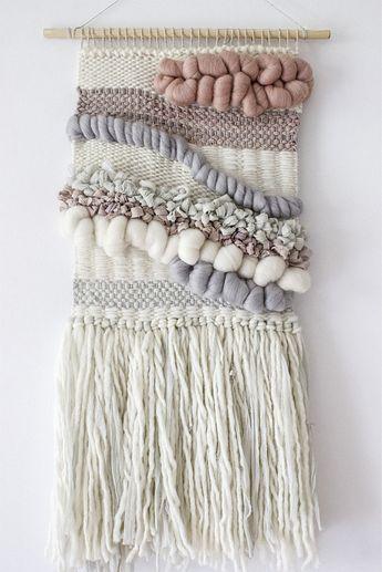 Blush, grey, white woven wall hanging | Woven wall art | Wall weaving| Tapestry…