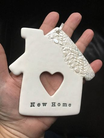 New Home gift idea porcelain clay ceramic hanging house with heart cutout