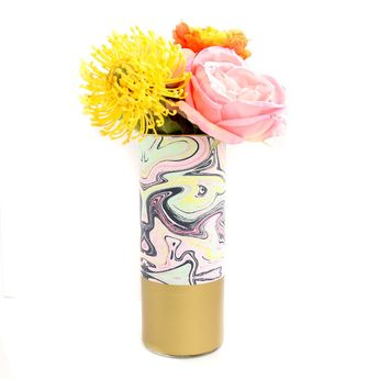 Marble Print Pattern Wrapped Glass Flower Vase with Gold Base