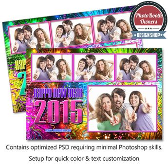 new year fireworks celebration postcard photo booth template