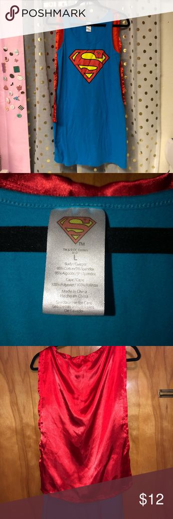 Superman dress nightgown with cape L Size large Superman dress or nightgown with silky cape in perfect condition except for being wrinkled. Superman Dresses
