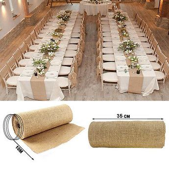 Details about Burlap Table Runner and 4 Placemats Natural Jute Country Rustic Decor Handmade
